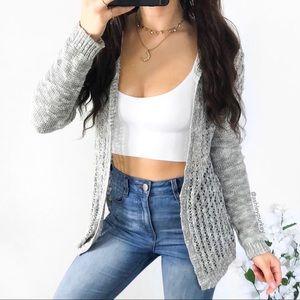 lightweight gray knit hooded cardigan sweater